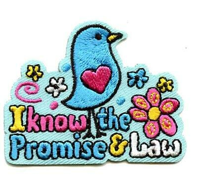 Girl I KNOW the PROMISE & the LAW Fun Patches Crests Badge SCOUT GUIDE Bird