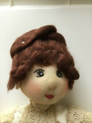 Handmade Vintage Rag Doll 34cm Brown Hair with Lace Clothing Female