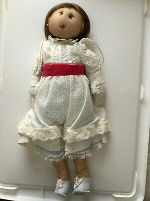 Handmade Vintage Rag Doll 34cm Brown Hair w/ Lace Clothing Red Waistband Female