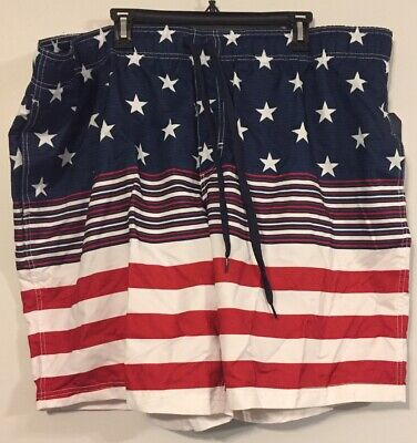3b535f7dd1 NEW American Flag Men's Swim Trunk Shorts Size 3XL Surf Swim Red White Blue  NWT