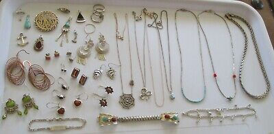 35+pc. Wearable Sterling / 925 Silver Jewelry 140.9 gram Lot (As54