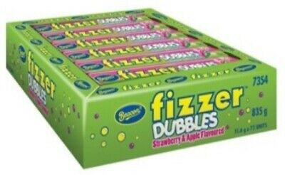 72 x BEACON FIZZER DUBBLES STRAWBERRY APPLE CHEWY FIZZY WRAPPED LOLLIES CANDY
