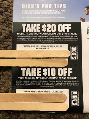 Lot of 2 Dick's Sporting Goods Coupons  In Store or On Line