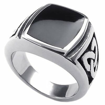 Vintage Mens Stainless Steel Ring Celtic Knot Enamel Signet  Rings US Size 7-15