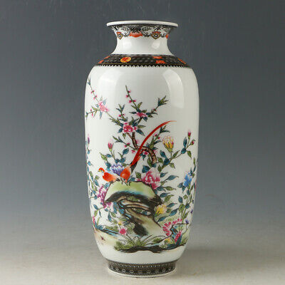 Chinese Porcelain Hand-painted Flower & bird Vase W Qianlong Mark R1178.b