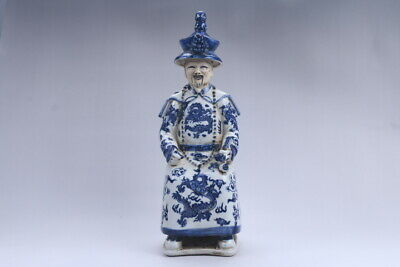Collection Chinese hand carving Blue and white porcelain Minister statue aa400
