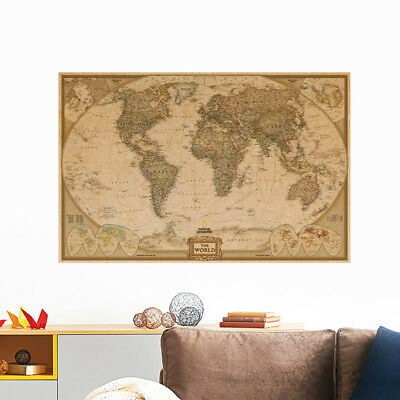 2/5pcs World Map Paper Poster Vintage Retro Antique Wall Chart Home Decor Xmas O