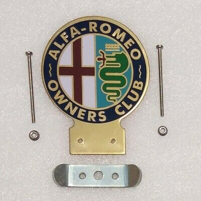 Alfa Romeo Owners Club Car Heavy Brass Enamel Front Grill Badge & Fixing Repro