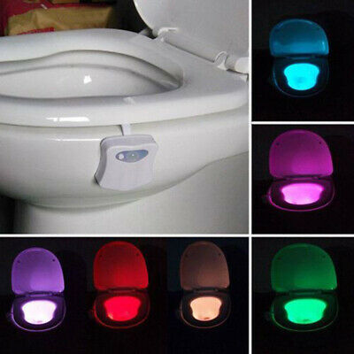 8 Colors Change Motion Activated Home Toilet Bowl LED Night Light Lamp Proper