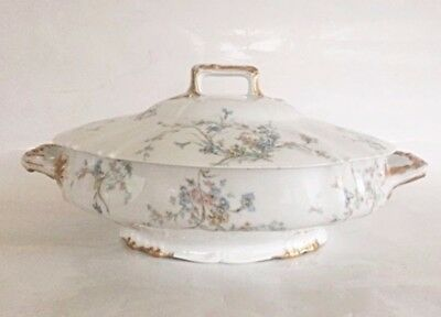 Rare Theo Haviland Limoges France Covered Vegetable Dish w/ Blue Flowers