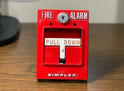*Vintage* *Rare* Simplex 4251-50 Fire Alarm Dual Stage Pull Station Metal Tbar