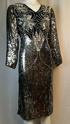 Stunning Vintage Fully Beaded Sequin Gown Dress Silver Size Medium
