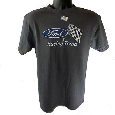 Ford T-Shirt - Gray w/ Racing Team Checkered Flag Emblem / Logo (Licensed)