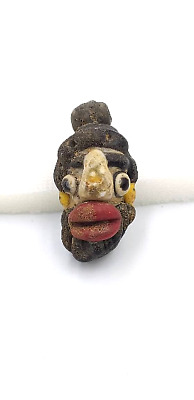 RARE Ancient Phoenician Mosaic Glass Face Pendant 300 bc, 50mm*30mm #nf7