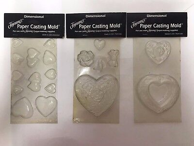 Moulds Paper Casting 3 x Assorted Plastic Heart Moulds DIY CRAFT by Joyeanna's