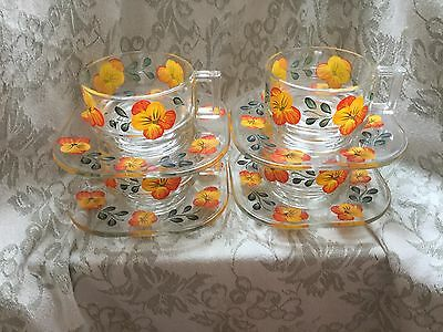 4 x Joe Colombo glass cups & saucers with retro orange pansies, groovy