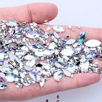 600PCS 7 Sizes Acrylic Rhinestones Eye Shape Crystal AB Flat Back Nail Rhineston