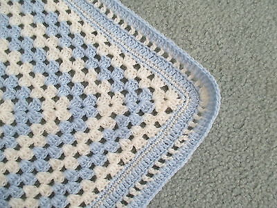 CROCHET Baby Pure Wool Shawl Christening Blue & Cream Large 1.1M square