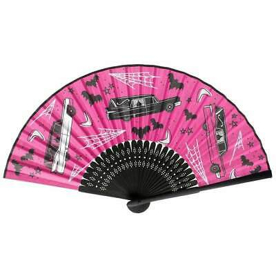 Sourpuss Hearse Death Cab Hand Fan Chinese Japanese Folding Retro Gothic Punk