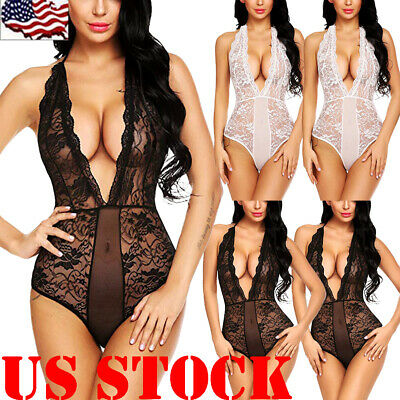 New-Sexy-Lingerie-Sleepwear-Lace-Women-Babydoll-Bodysuit-Nightwear Size S-3XL