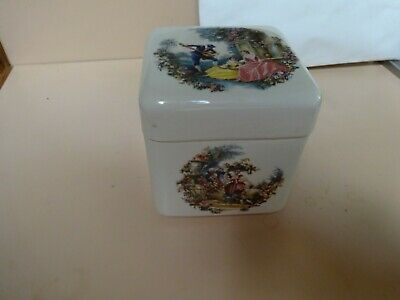Vintage TWININGS ceramic TEA CADDY. Marquis Marquesas.Made in England.