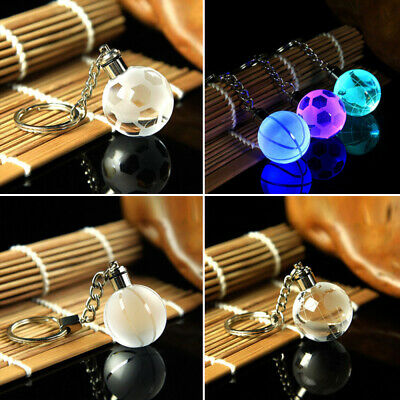Charm Cool Crystal Ball 3D Engraved Key Chain Ring Keyring LED Glow Deco AFT