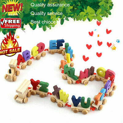 Wooden Train Set Alphabet Wood Letters with Wheels Kids Toddler Educational Toy#