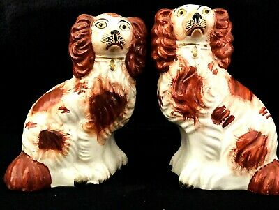 """Matched 6.5"""" Pair of Red and White Staffordshire Spaniel Dogs circa 1860s"""