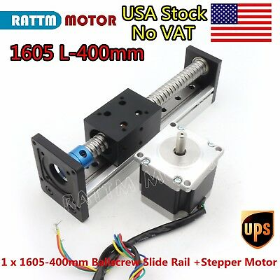【US】 1605 CNC Ball Screw Linear Slide Stroke 400mm Z Axis & Nema23 Stepper  Motor