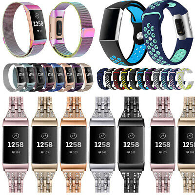 For Fitbit Charge 3 Strap Replacement Milanese Watch Band Steel Magnet Silicone