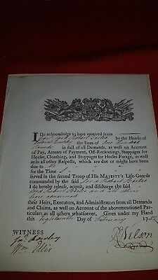 British Life Guards, Document, Signed R Nelson C1702