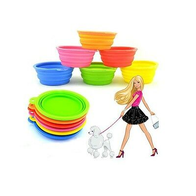 Pet Dog Cat Collapsible Feeding Bowl Travel Portable Silicone Water Dish SO