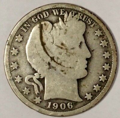 1906-D 50C Barber Half Dollar, 18whh1202 90% Silver, 50 Cents Shipping