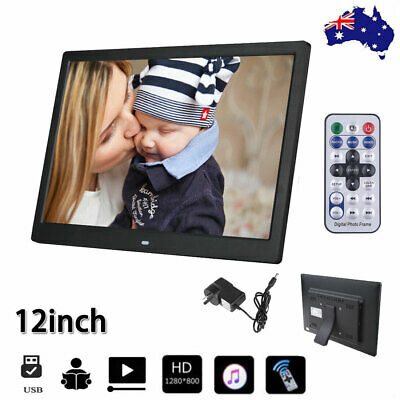New 12'' HD 1080P LED Digital Photo Picture Frame Movie Player Remote Control AU