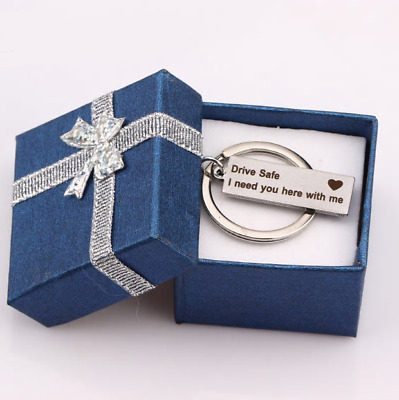 Engraved Keychain Keyring Gift Box Drive Safe I Need You Here With Me Car Ring