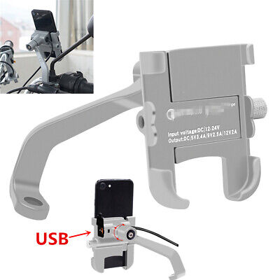 Silver CNC ATV Scooter Mirror Screw Phone Holder Mount Bracket +Fast USB Charger
