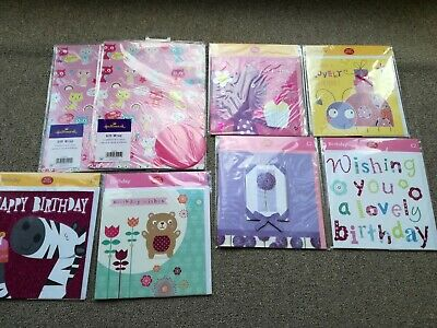 Greeting cards bundle - set of 6 - birthday, blank, 2xgift wrap+tag