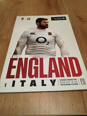 Official Programme for the England v Italy 6 Nations Rugby Match, 9th March 2019