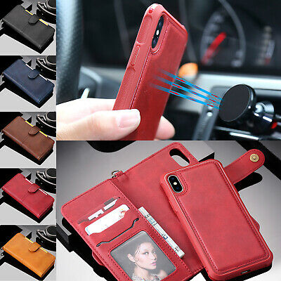 For iPhone XR XS Max Leather Case Removable Stand Flip Card Wallet Magnet Cover