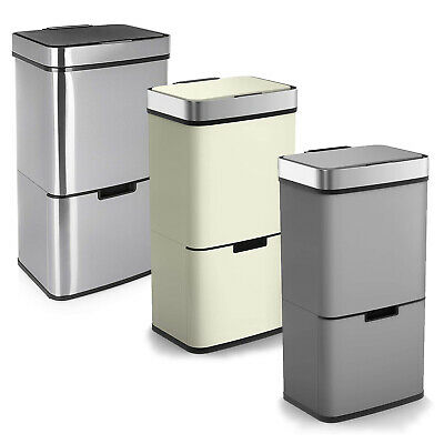 72L Large Stainless Steel 3 Compartment Waste Recycling Infra Red LED Sensor Bin