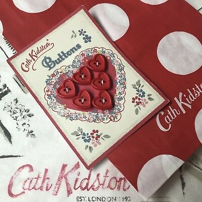 CATH KIDSTON Six Red Heart Buttons NEW on Card + Gift Bag VINTAGE Craft