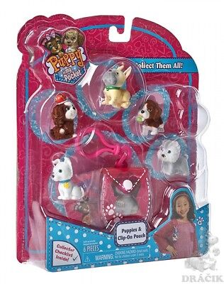 Puppy In My Pocket Puppies with Clip On Pouch Assortment Cute 6 Piece Set