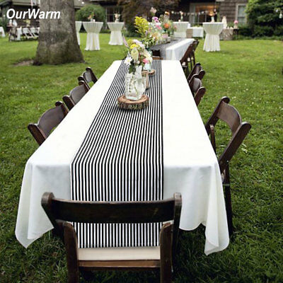 Black and White Striped Cotton Table Runner Party Wedding Reception Top Decor