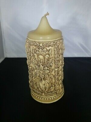 Vintage Decorative Carved Ornate Floral Wax Candle Never Burned Beautiful 7""