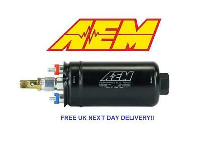 GENUINE AEM 50-1009 400LPH Inline Fuel Pump 10AN Inlet 8AN Outlet Fittings