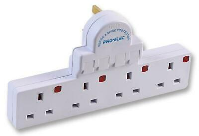 Pro Elec 4 Way Adaptor - Surged 4 Switched Electric Plug Sockets with Neons