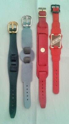 NOS - Lot Of 4x Leather Military Bund Style Bracelet Cuff Watch Strap Bands