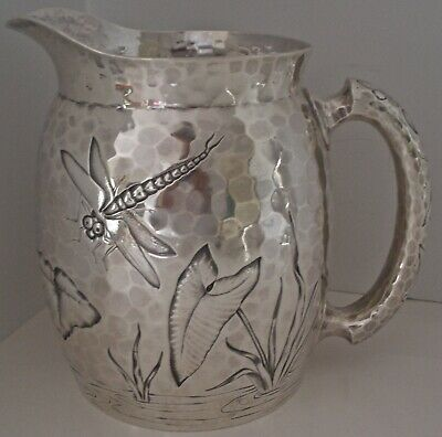 Aesthetic Chased Bug Dragonfly Pond Sterling Water Pitcher Dominick Haff 1881
