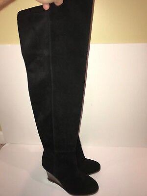 23498012eef VINCE CAMUTO BOOT Granta Over The Knee Black Leather Wedge Boot 7 ...