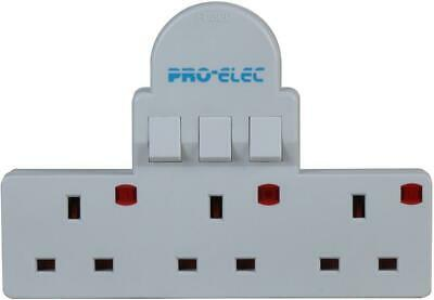 PRO-ELEC 3 SWITCH ADAPTOR GANG MULTI PLUG SOCKET MAINS 3 WAY SWITCHED extension